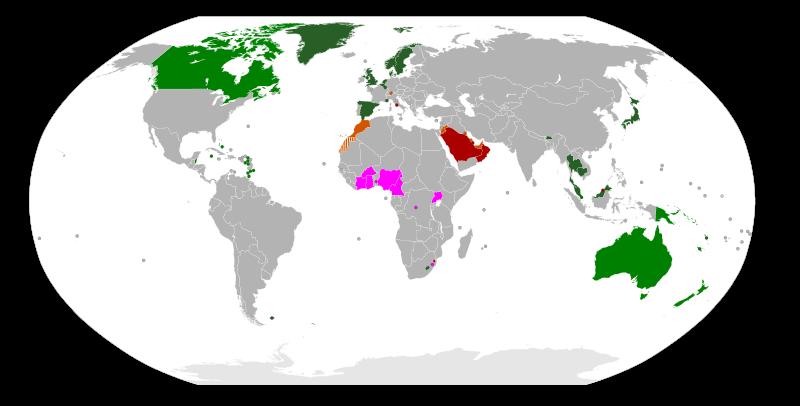 Peta Negara-negara monarki di dunia