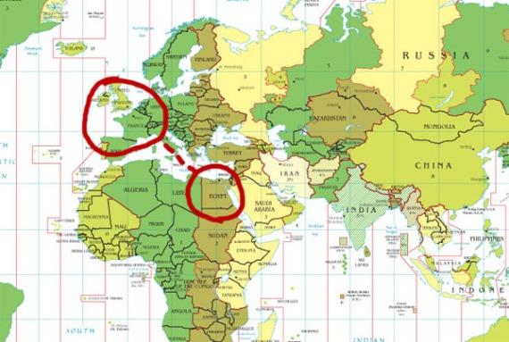 Peta Mesir dan Eropah barat